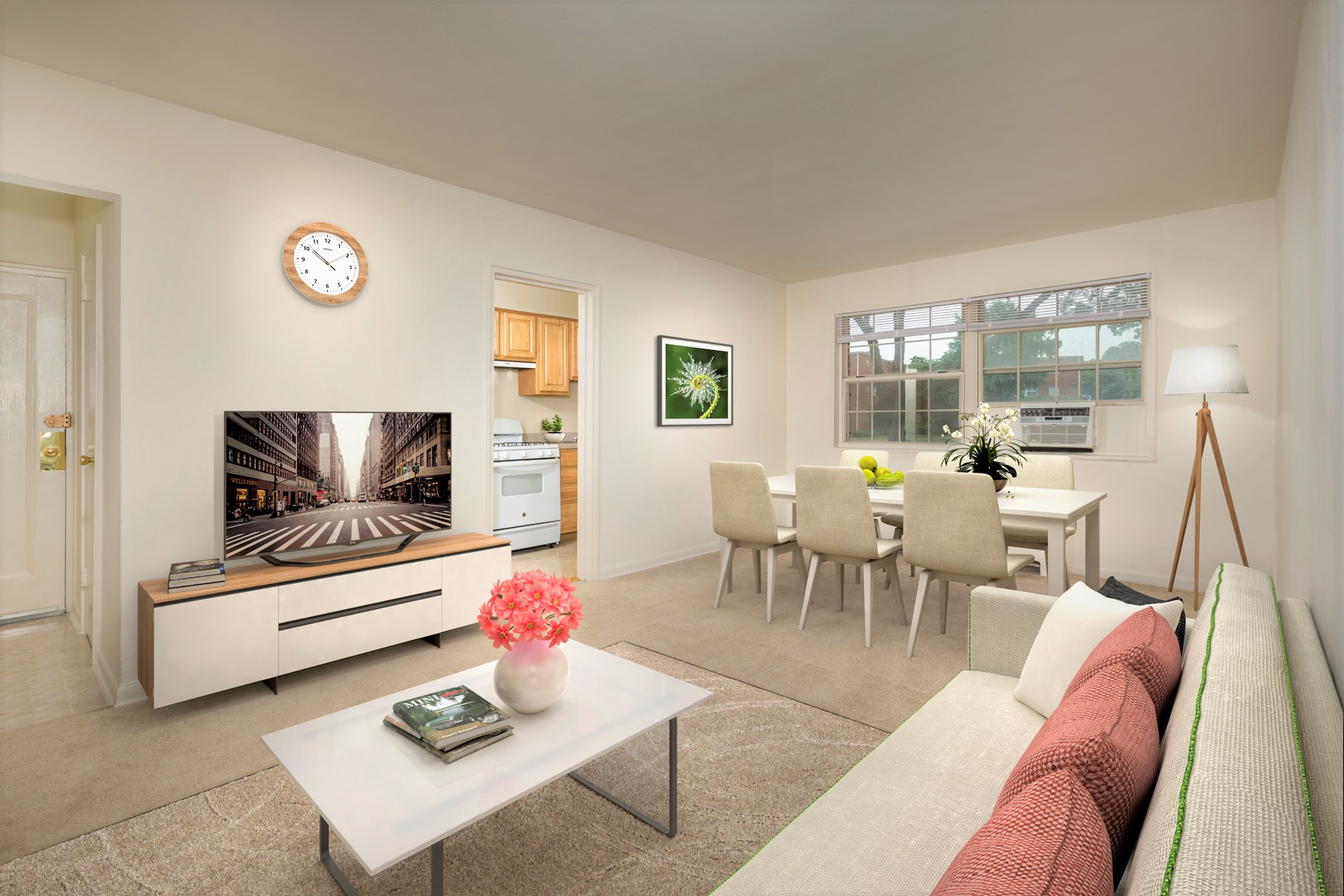 Comfortable living and dining area at Kirkwood Apartments in Hyattsville, MD