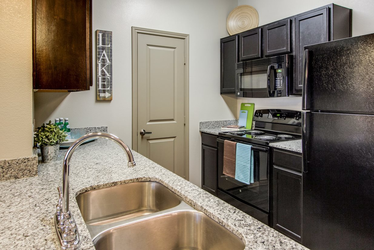Black Kitchen Appliances at The Lakeshore Apartment Homes in Lake Dallas, TX