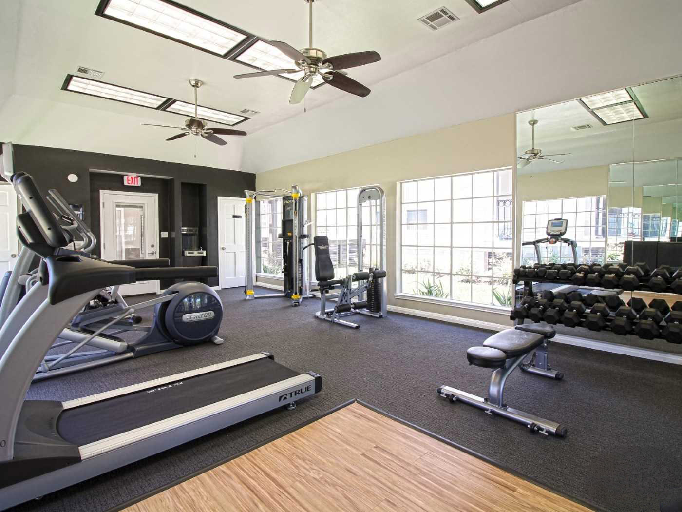 Professional Gym Equipment at Grove at Seabrook Apartments in Seabrook, Texas