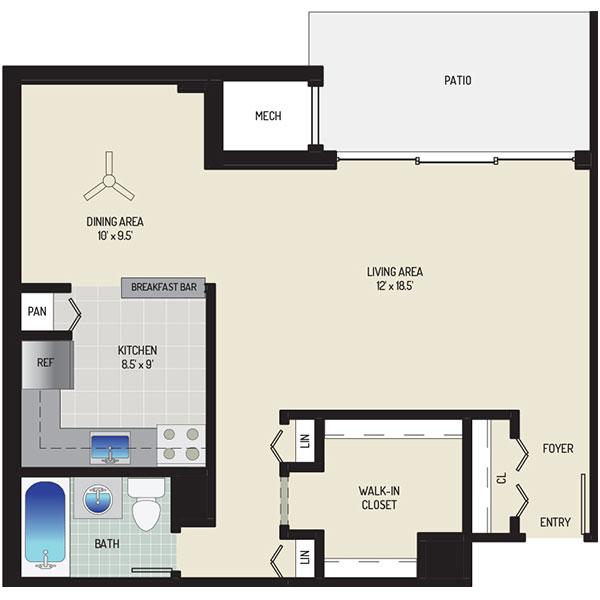 Lansdowne Village Apartments - Floorplan - Studio