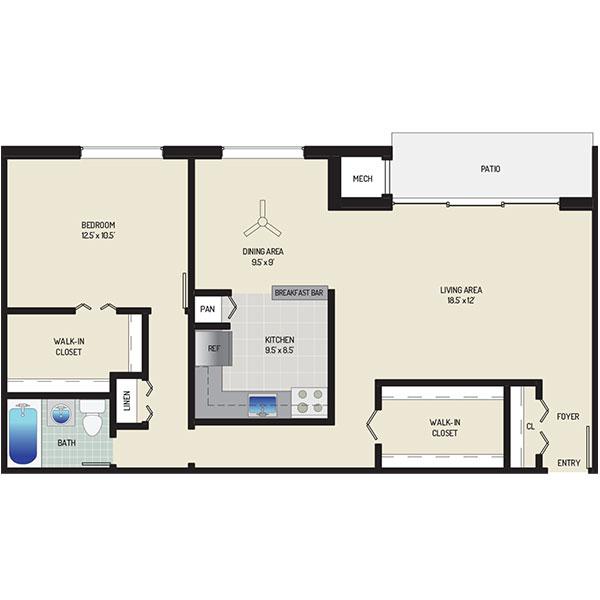 Lansdowne Village Apartments - Floorplan - 1 Bedroom + 1 Bath
