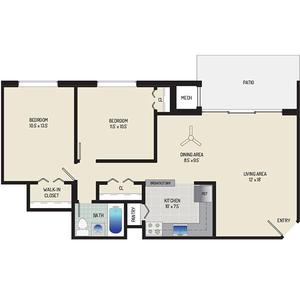 Lansdowne Village Apartments - Floorplan - 2 Bedrooms + 1 Bath
