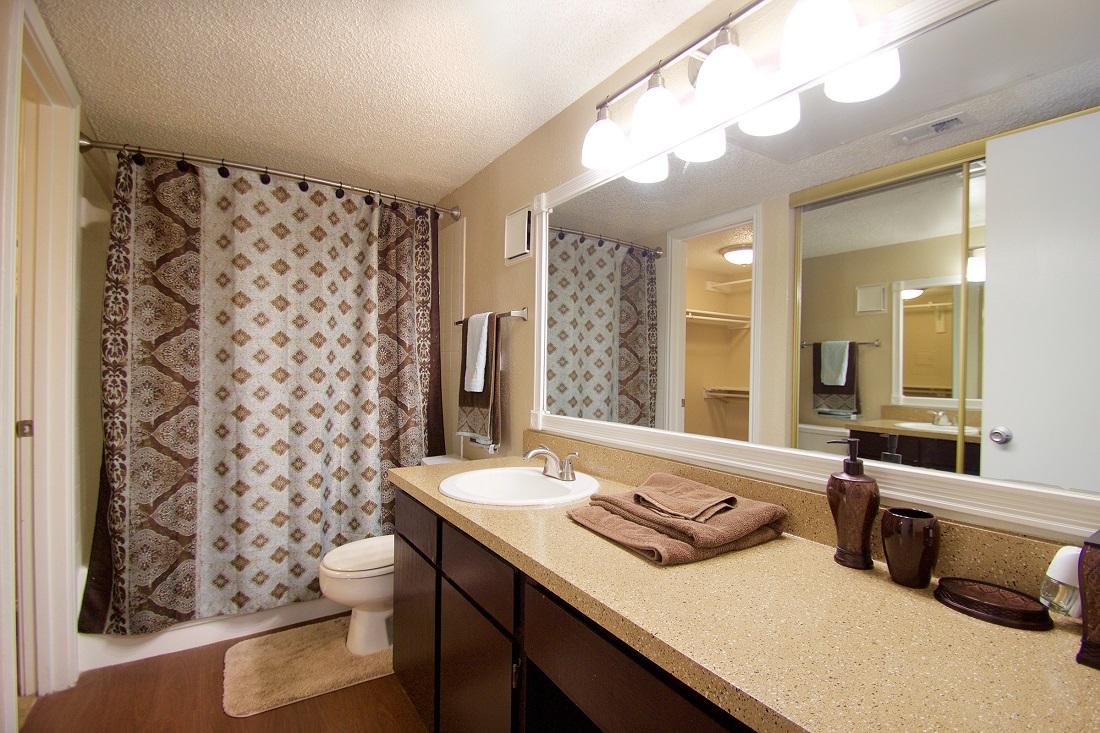 Shower and Tub Combination at Las Brisas Apartments in San Antonio, TX
