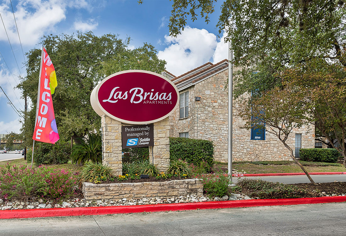 Entrance at Las Brisas Apartments in San Antonio, TX