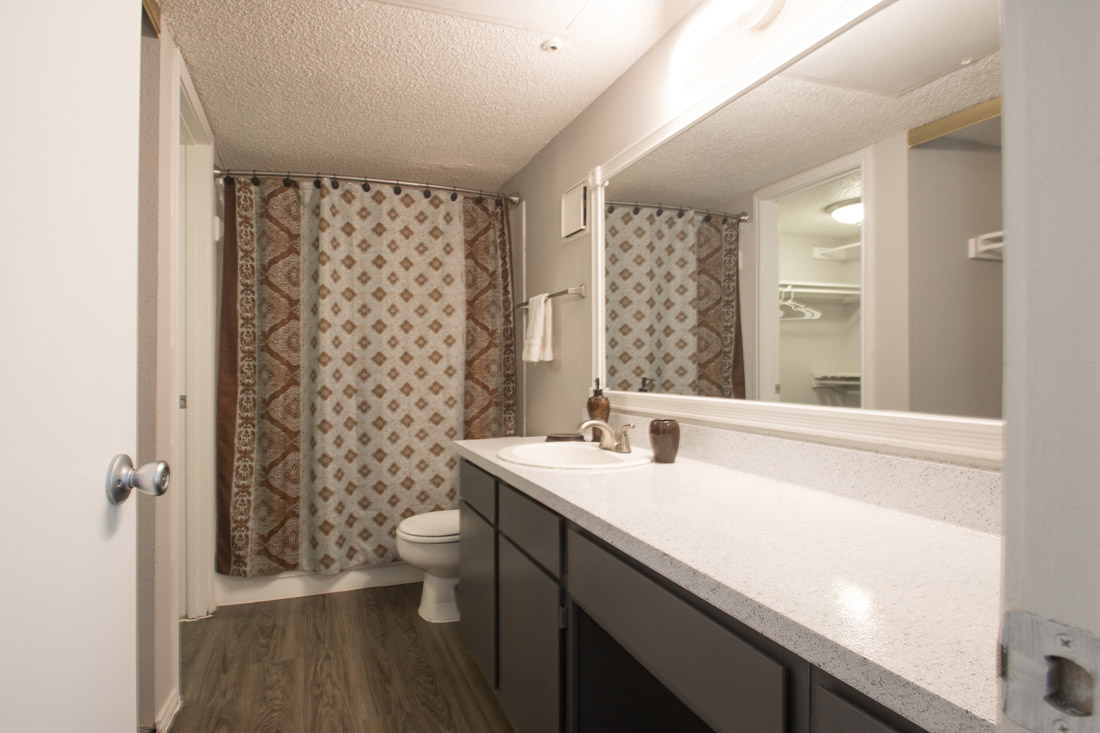 Bathroom with Ample Counter Space at Las Brisas Apartments in San Antonio, TX