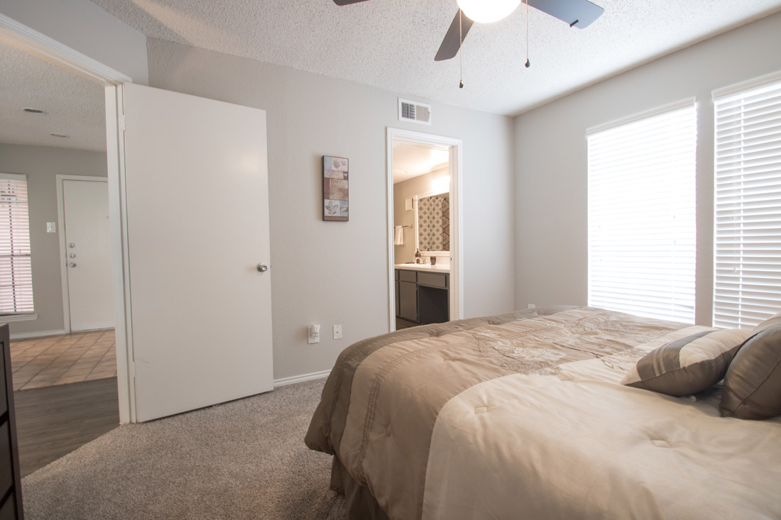 Spacious Bedroom with attached Bath at Las Brisas Apartments in San Antonio, TX