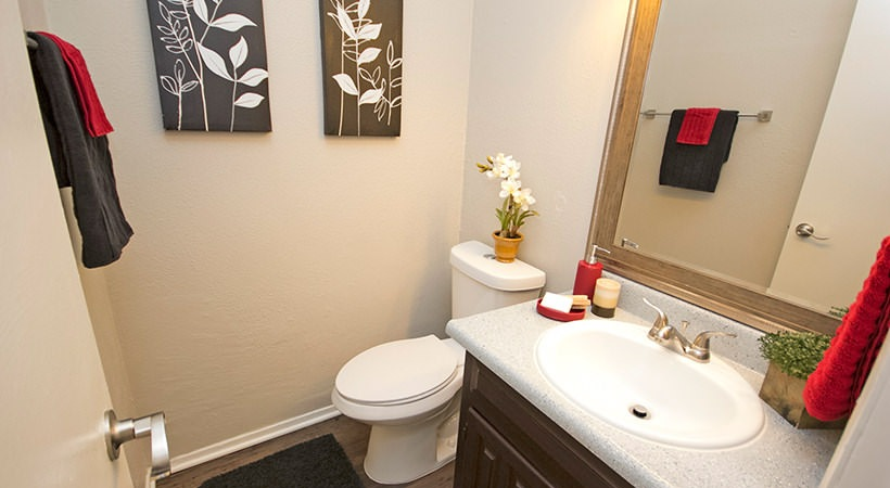 Modern Bathroom at Las Casitas Apartments in DeSoto, Texas