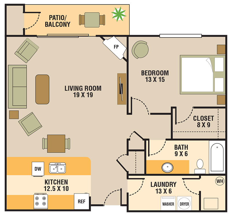 Floorplan - 1 Bedroom B image