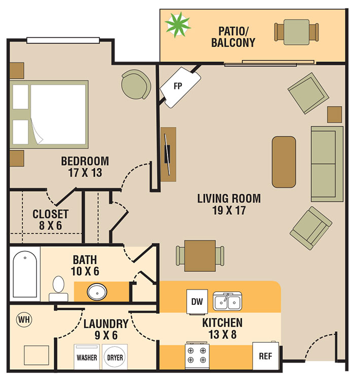 Floorplan - 1 Bedroom A image
