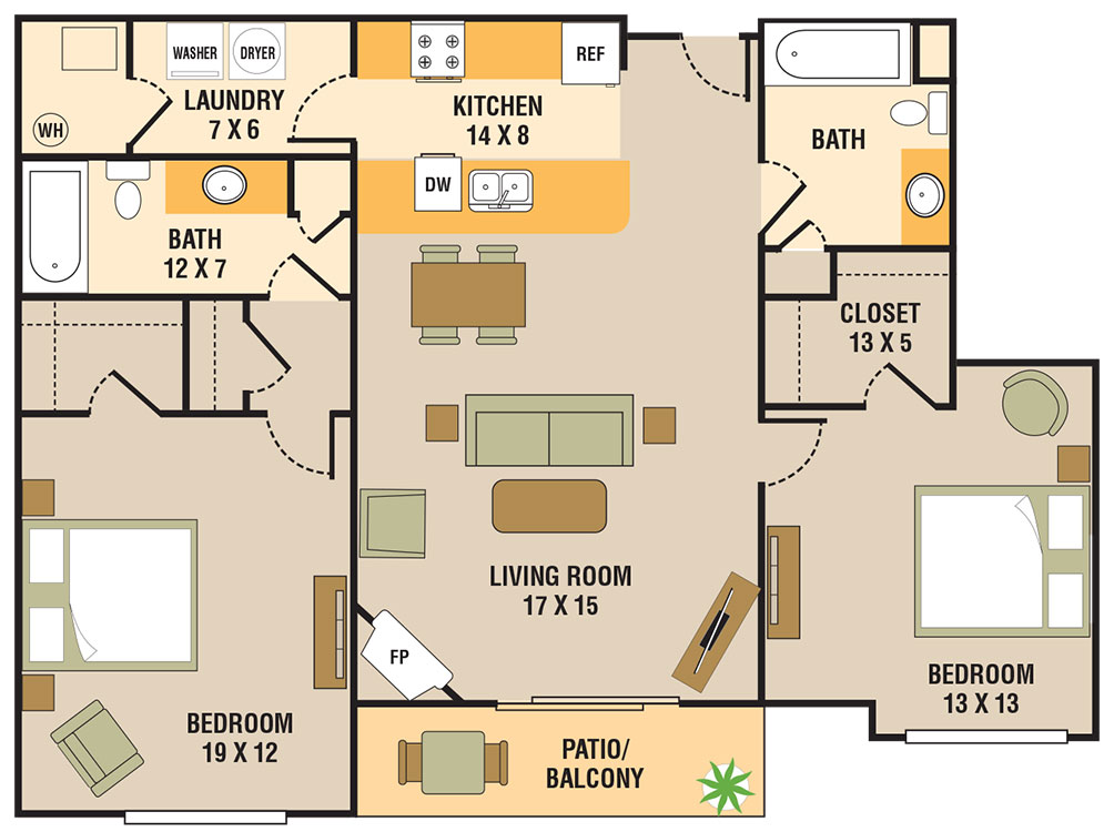 Floorplan - 2 Bedroom A image