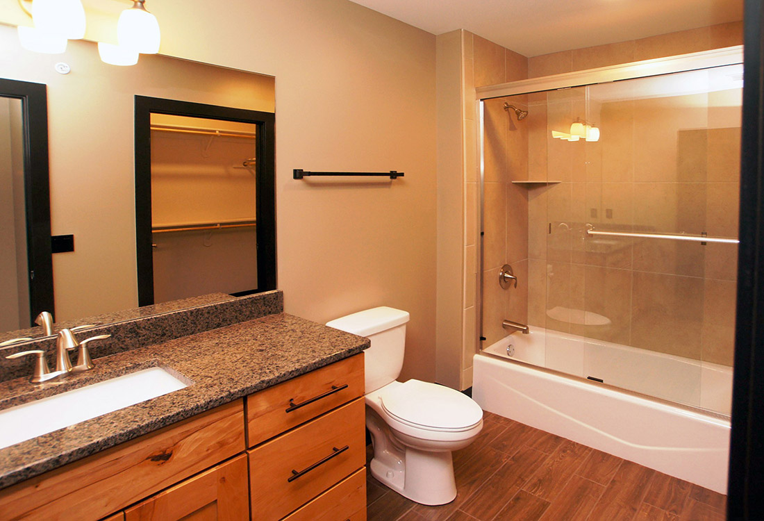 Upgraded Bathroom at Legacy Flats Apartments in Omaha, Nebraska