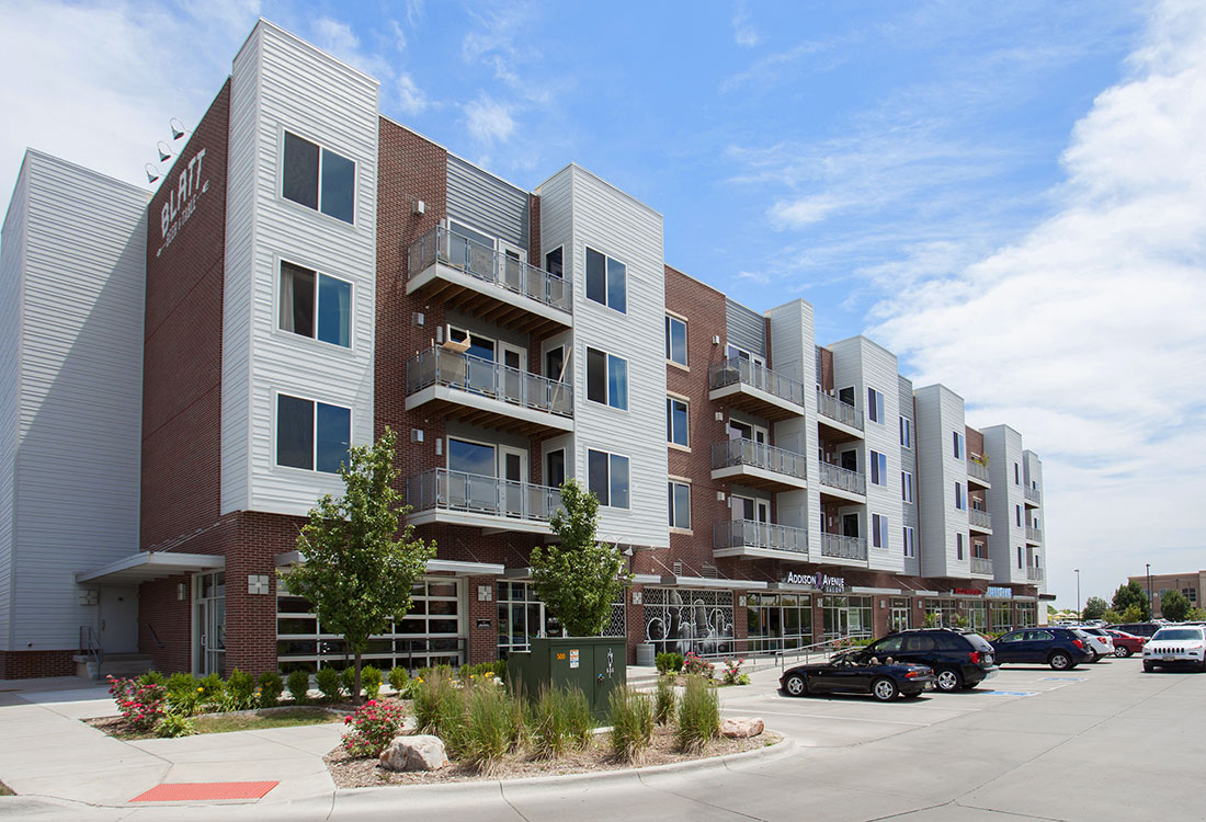 Vibrant Neighborhood at Legacy Flats Apartments in Omaha, Nebraska