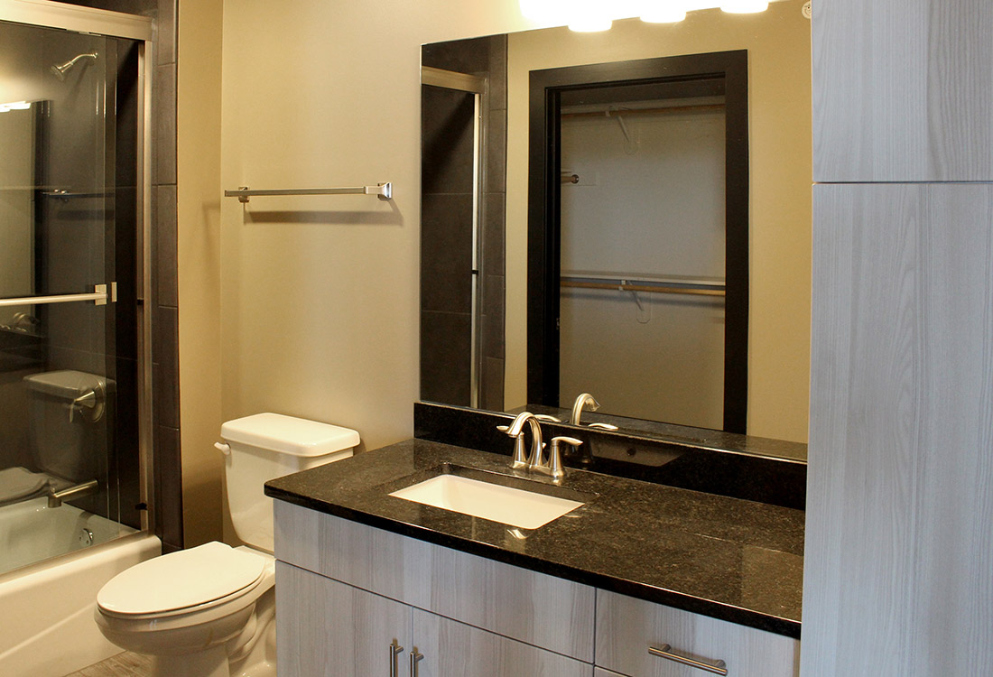 Custom Bathroom Decor at Legacy Flats Apartments in Omaha, Nebraska