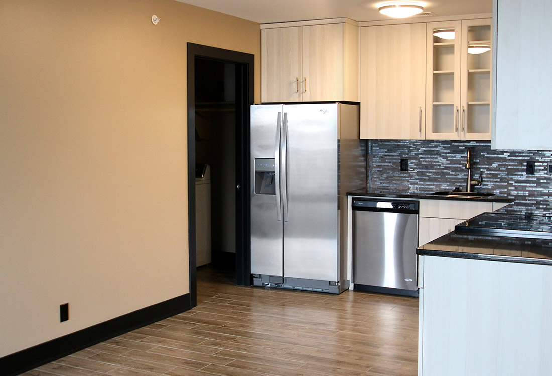 Fully-Equipped Kitchen at Legacy Flats Apartments in Omaha, Nebraska