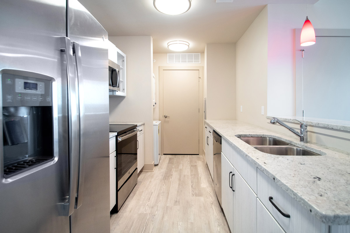 Kitchens with Stainless Steel Appliances at Legacy Flats Apartments in Omaha, NE