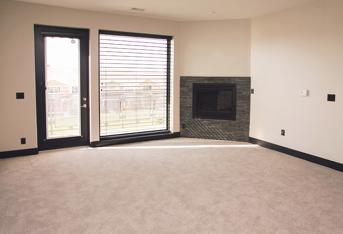 Cozy Fireplace at Legacy Flats Apartments in Omaha, Nebraska