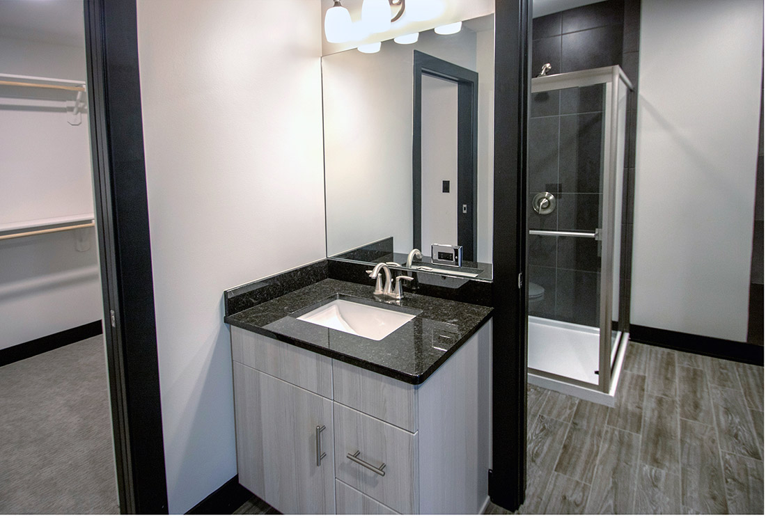 Large Bathroom at Legacy Flats Apartments in Omaha, Nebraska