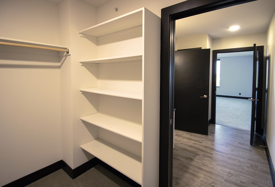 Added Built-In Shelving at Legacy Flats Apartments in Omaha, Nebraska