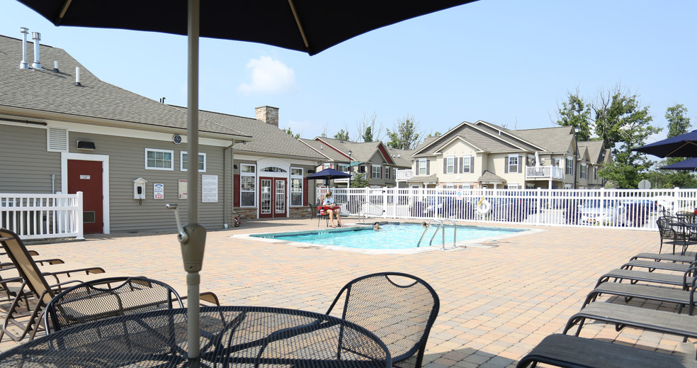 Pool Lounge Area at Lehigh Park Apartments in Henrietta, NY