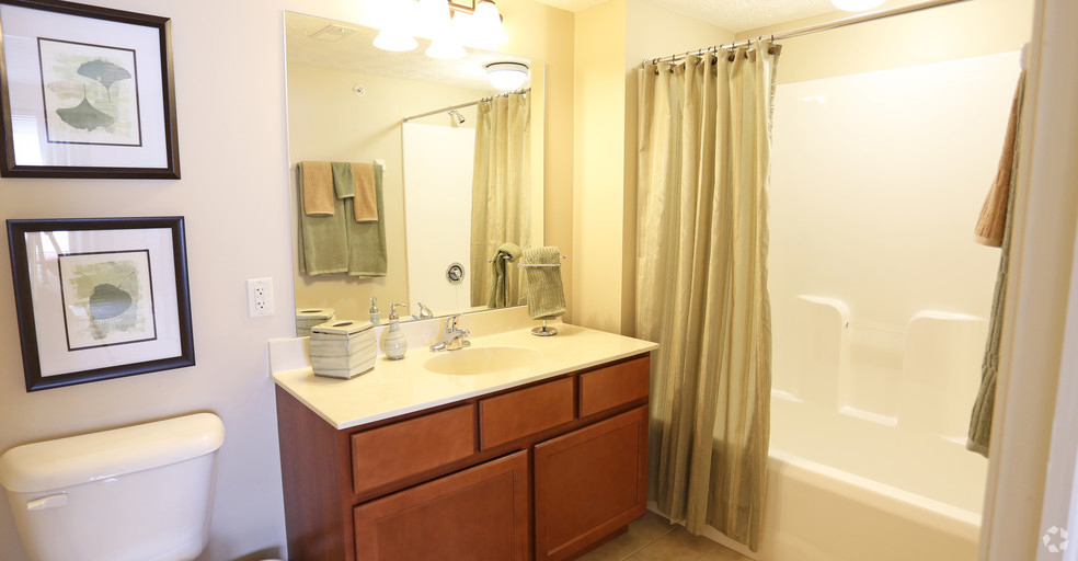 Shower and Tub Combination at Lehigh Park Apartments in Henrietta, NY