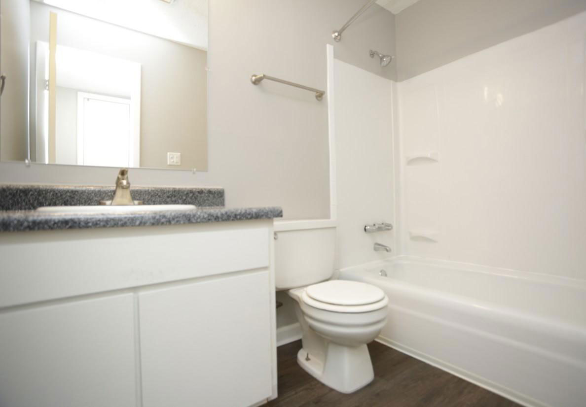 Shower and Bathtub Combination at Liberty Heights Apartments in Liberty, MO