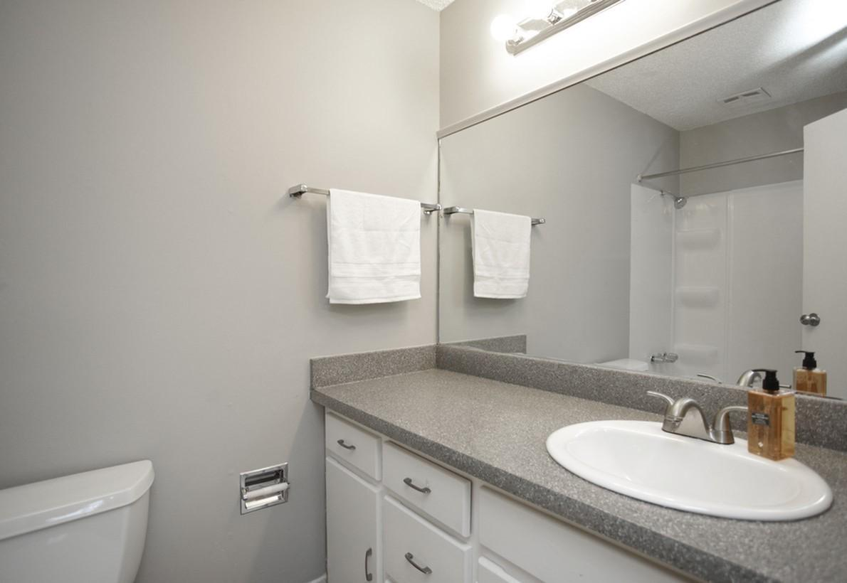 Bathroom with Vanity at Liberty View Apartments in Liberty, MO