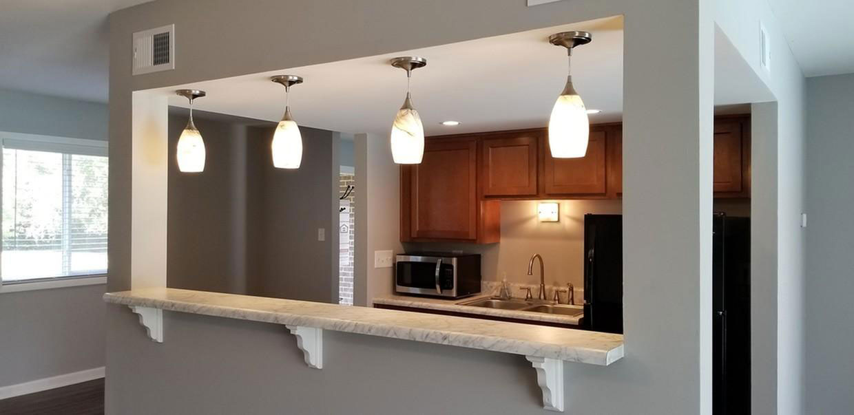 Stylish Pendant Lighting at Liberty Heights Apartments in Liberty, MO