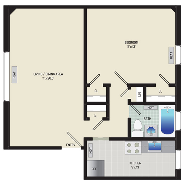Liberty Place Apartments - Floorplan - 1 Bedroom + 1 Bath