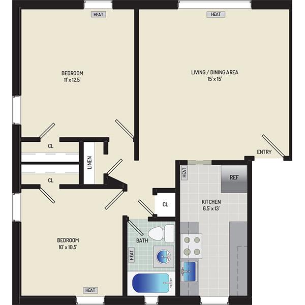 Liberty Place Apartments - Floorplan - 2 Bedrooms + 1 Bath
