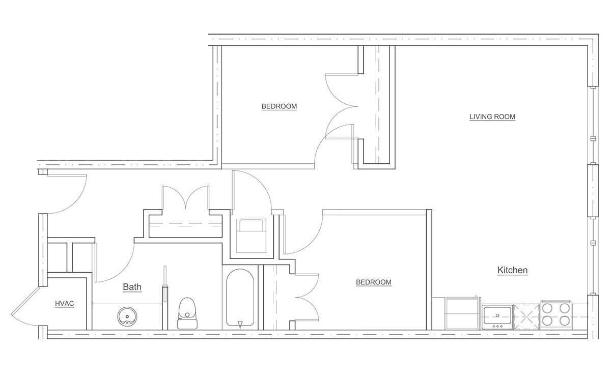 Floorplan - 2 Bedroom - 1 Bath - 700sqft image