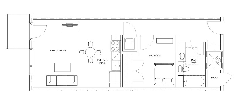 Floorplan - 1 Bedroom - 1 Bath image