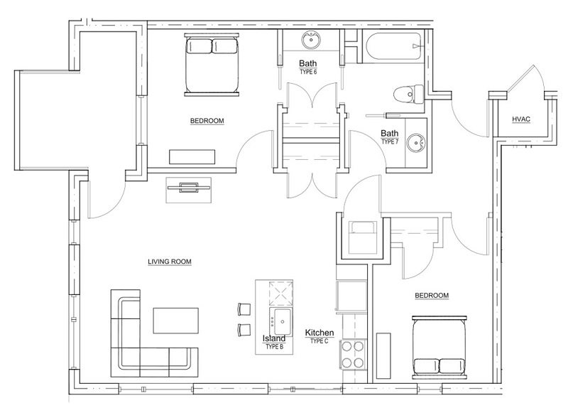 Floorplan - 2 Bedroom - 1 Bath - 856sqft image