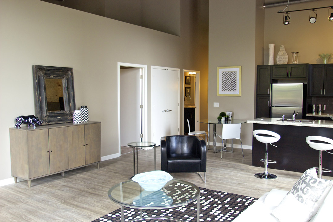 Stylish Wood-Look Flooring at Limelight at Sixteenth Apartments in Omaha, NE