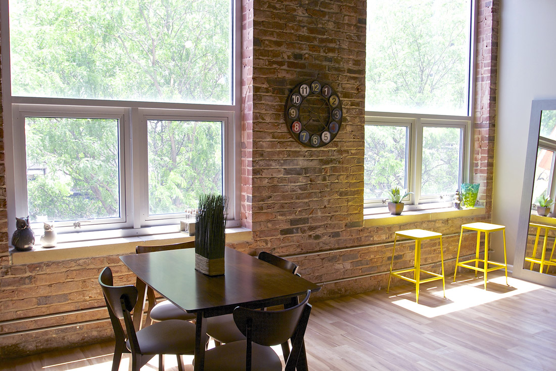 Exposed Brick Walls at Limelight at Sixteenth Apartments in Omaha, NE