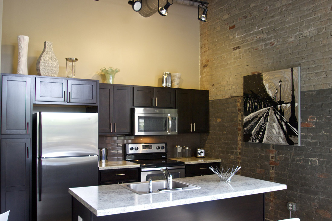 Beautiful Laminate Kitchen Countertops at Limelight at Sixteenth Apartments in Omaha, NE