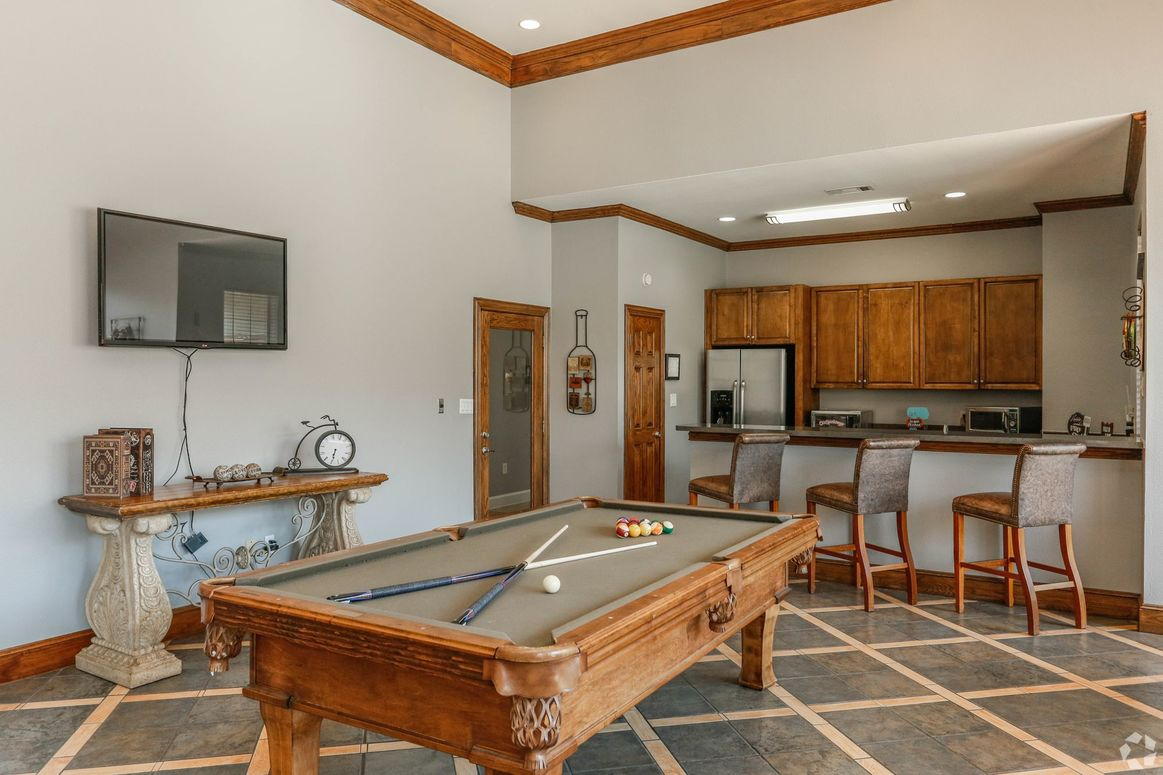 Game Room with Billiards Table at Limestone Apartments in Houston, Texas