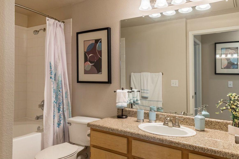 Bathroom Vanity at Limestone Apartments in Houston, Texas