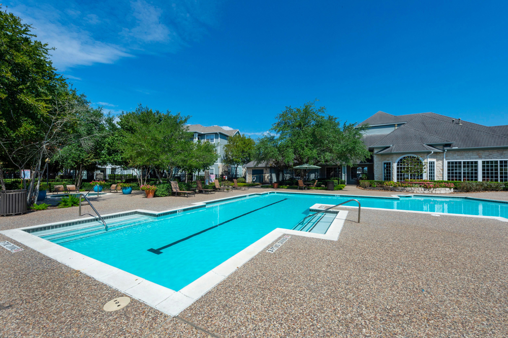 Sparkling Swimming Pool at Limestone Apartments in Houston, Texas