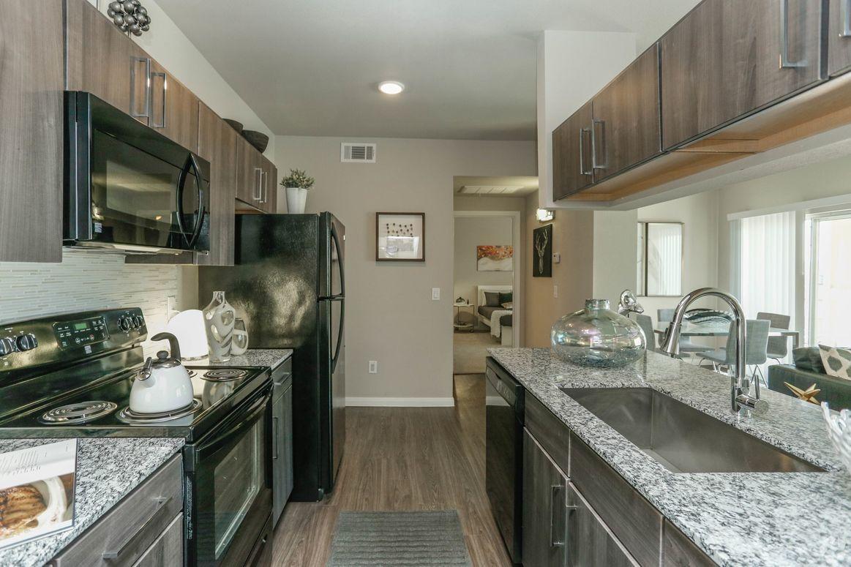 Black Appliances at Limestone Apartments in Houston, Texas