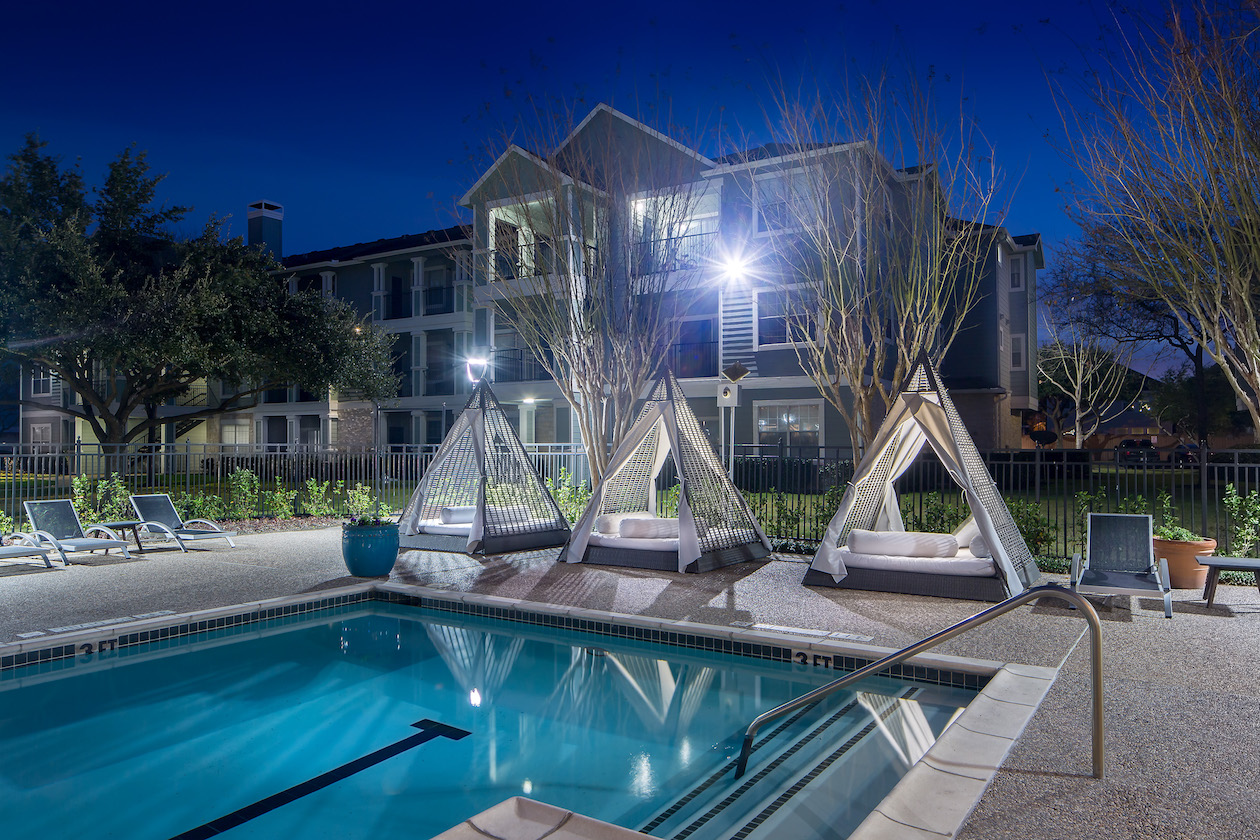 Poolside Lounge Areas at The Link, a Community of Luxury Apartments in Houston, Texas