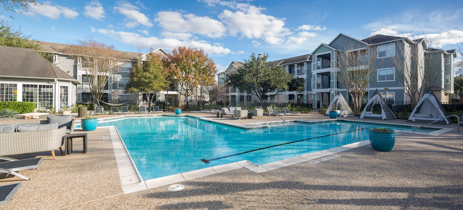 Sparkling Swimming Pool at The Link, a Community of Luxury Apartments in Houston, Texas