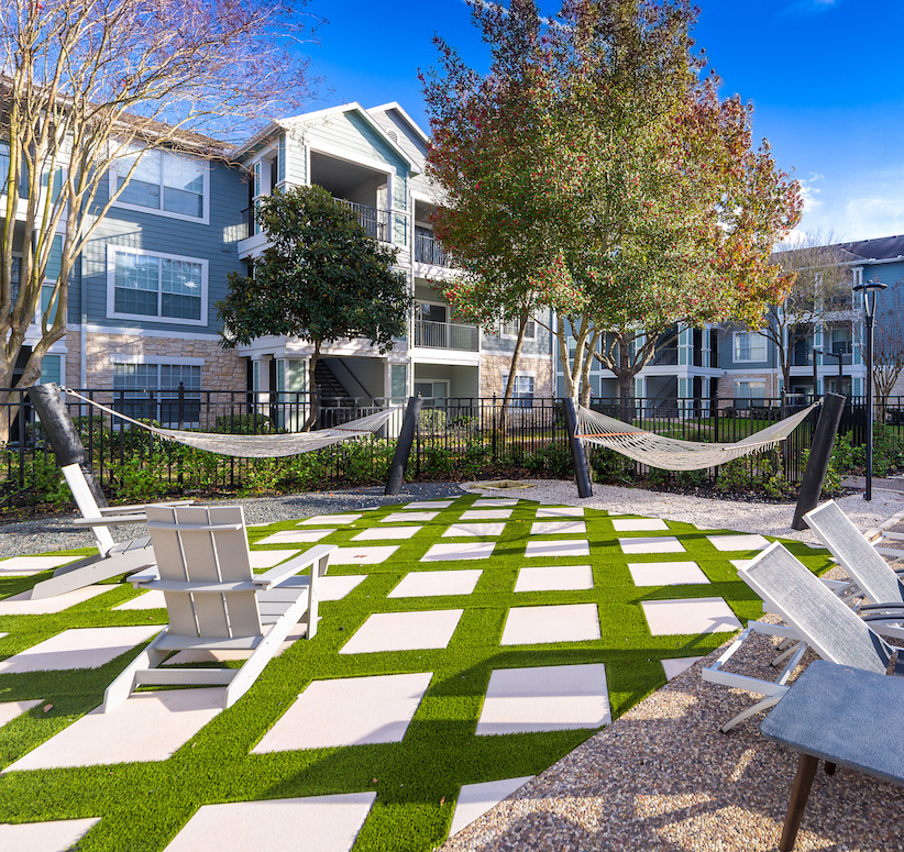 Hammocks and Outdoor Seating at The Link, a Community of Luxury Apartments in Houston, Texas