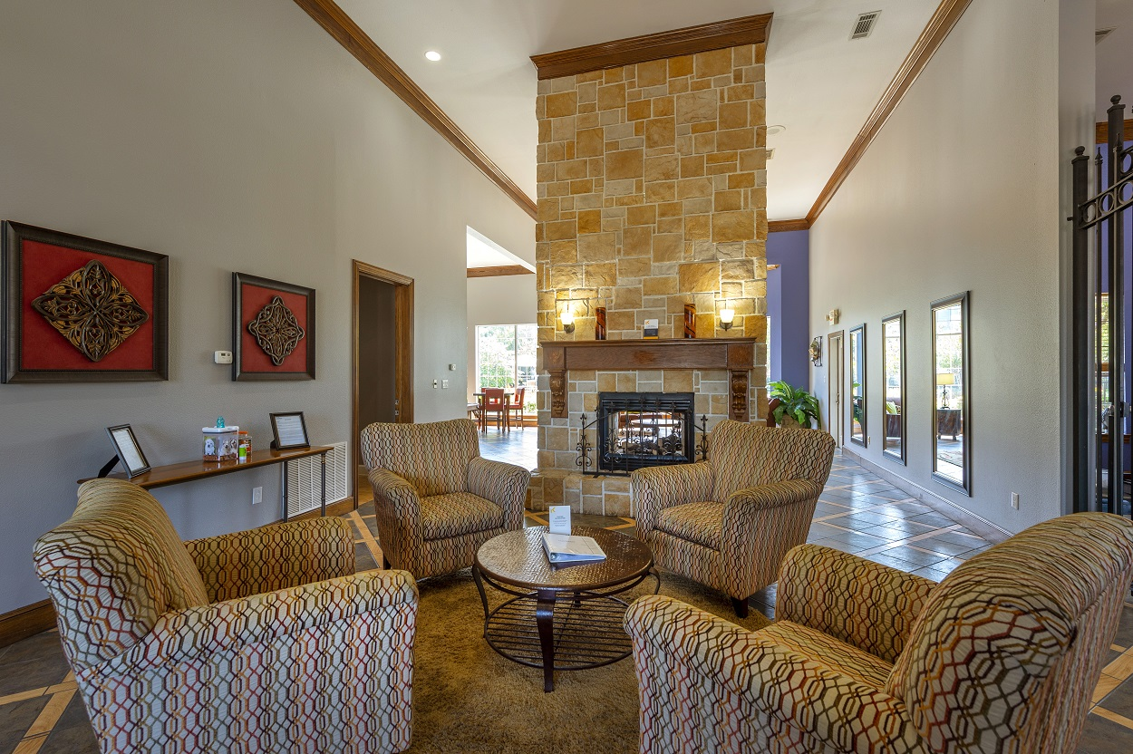 Exposed Brick Fireplace in Clubhouse at The Link Apartments in Houston, Texas