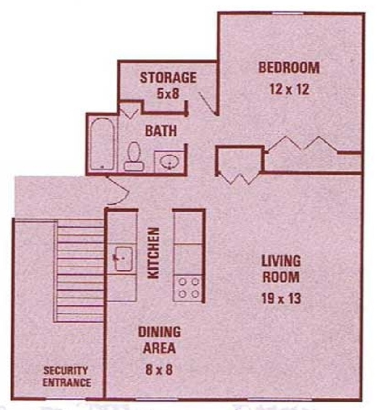 Floorplan - 1 Bedroom (1st Floor) image