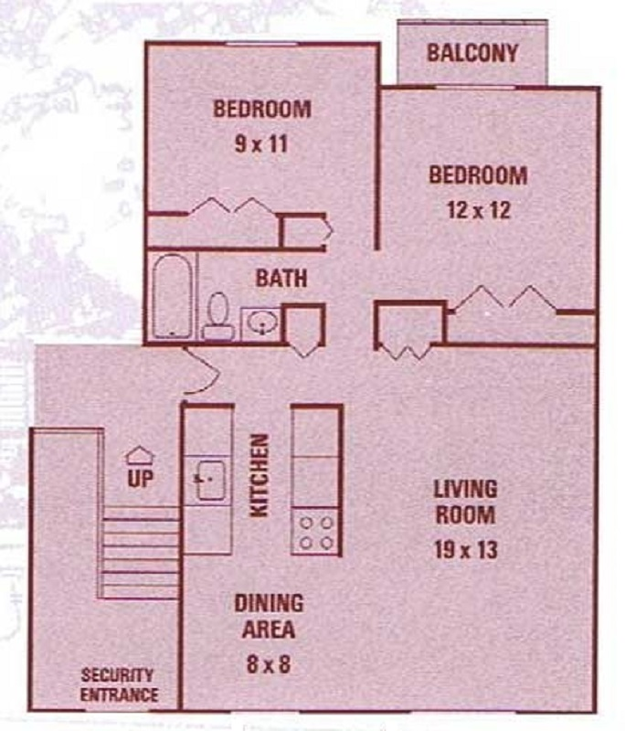 Little Creek Apartments - Floorplan - 2 Bedrooms (2nd Floor)