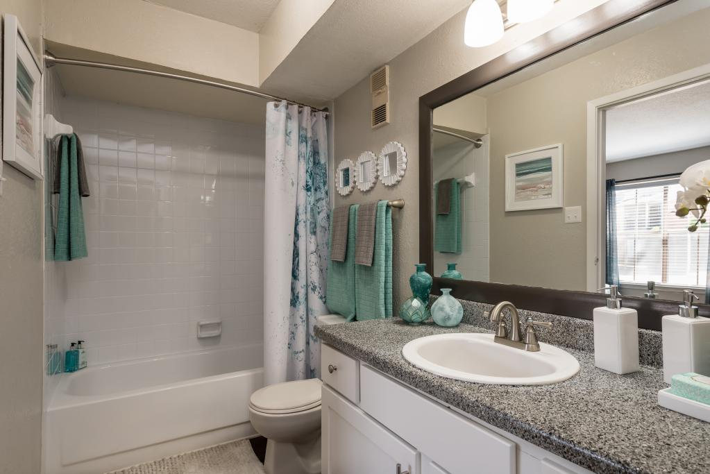 Spacious Bathroom at Lofton Place Apartments in Fort Worth, Texas