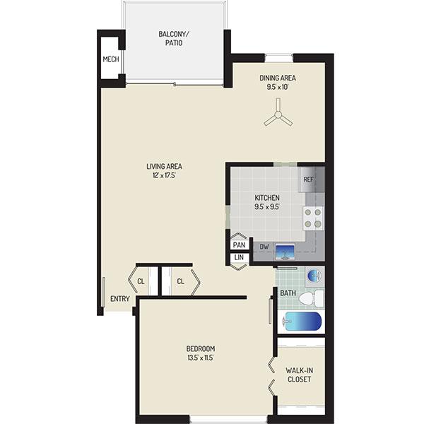 Londonderry Apartments - Floorplan - 1 Bedroom + 1 Bath