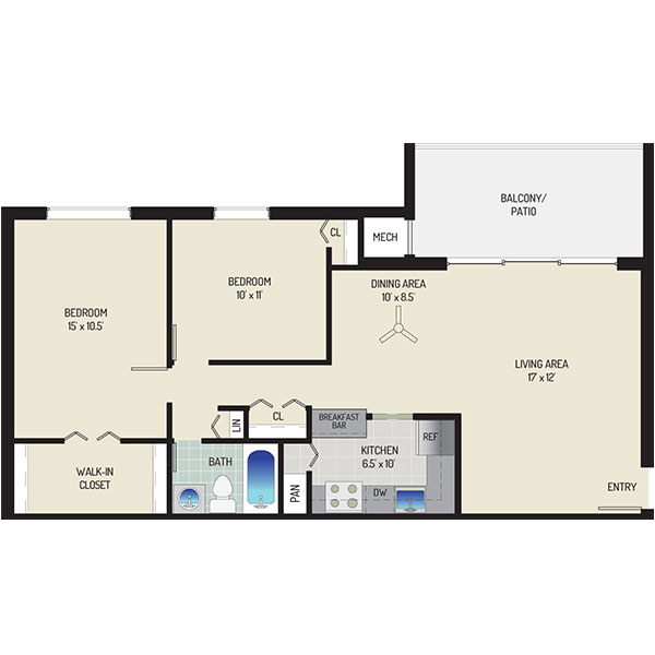 Londonderry Apartments - Floorplan - 2 Bedrooms + 1 Bath