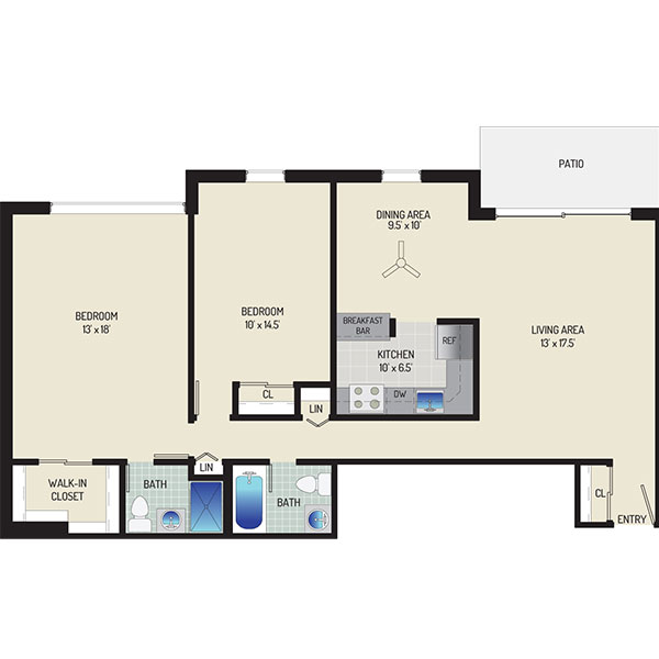 Londonderry Apartments - Floorplan - 2 Bedrooms + 2 Baths