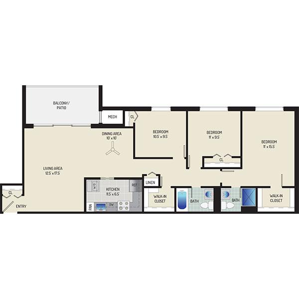 Londonderry Apartments - Floorplan - 3 Bedrooms + 2 Baths